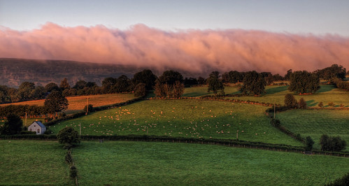 light red wall clouds rural sunrise landscape dawn country blackmountains capel sfarms