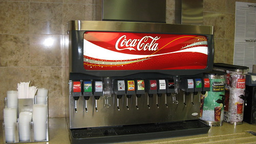 Self service Coca Cola soda fountain.  Mc. Donald's Restaurant.  Glenview Illinois. Late August 2012. by Eddie from Chicago
