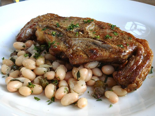 Barnsley chop with cannellini bean and caper salad, Dartmouth Arms, Forest Hill, London SE23