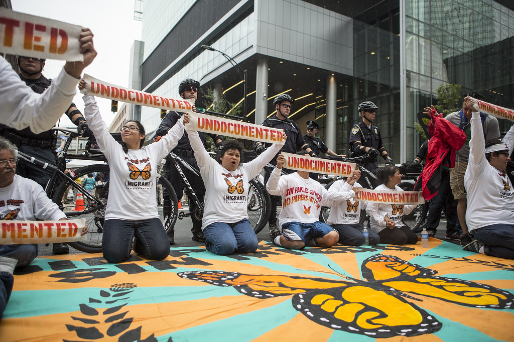 "people sit on the ground during a protest holding signs that say ""undocumented"""