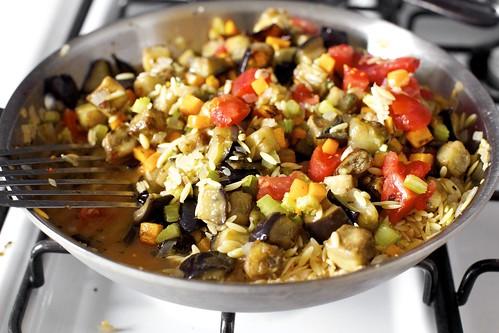 orzo, eggplant, tomatoes, oregano