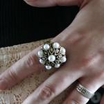 costume pearls vintage ring