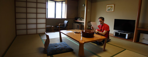 Panorama of the inside of our room in a ryokan