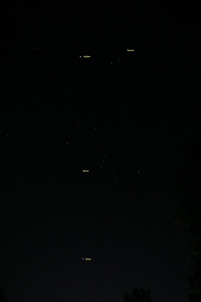 Jupiter Near Taurus, Orion and the Dog Star (09/11/2012)