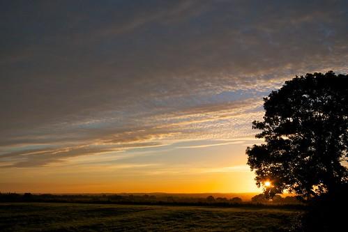 sky sunrise dawn day cloudy fields