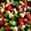 Chickpeas, peppers, corn, red onion and cilantro...