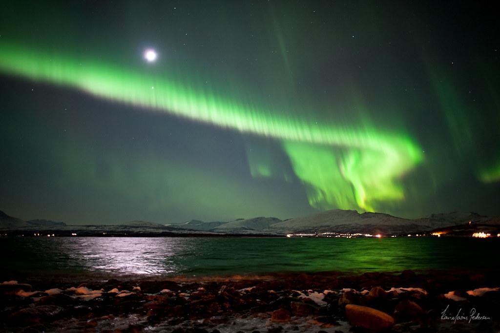 Full moon aurora borealis