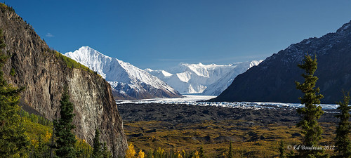clouds river fallcolors bluesky glacier conifer snowpeaks alaskamountains