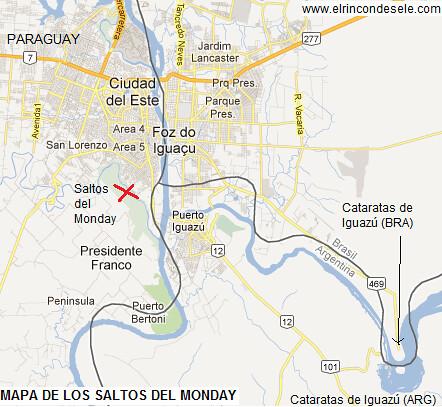 Mapa de situación de los Saltos del Monday (Paraguay)