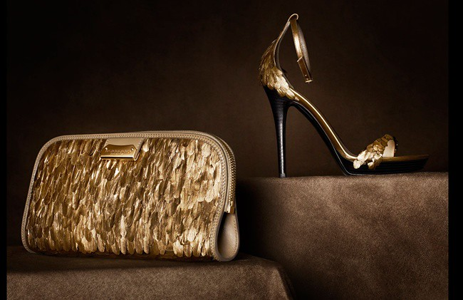02 - gold feather clutch and platform sandal