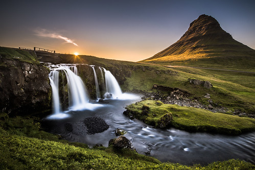 travel light sunset vacation mountain nature water rock fairytale clouds landscape flow island waterfall iceland europe kirkjufell grundarfjördur