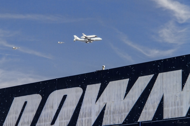 Space shuttle Endeavor flyover