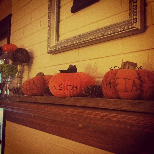 Fall has arrived on our mantle in the form of 3 special little punkins.