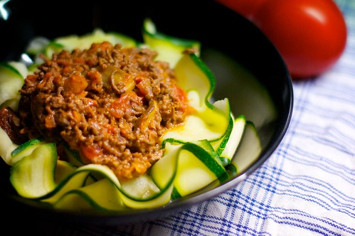 Köttfärssås med zucchinispaghetti
