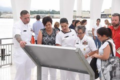 U.S. Pacific Fleet (PACFLT) Master Chief Suz Whitman, right, Royal New Zealand Navy Sailor of the Year (SOY) Leading Hand and Lead Chef Alexis Gray, her mother, Shannan Clarke, and PACFLT Sailor of the Year Chief Hospital Corpsman Corey Smith tour the USS Arizona Memorial, Aug. 23. (U.S. Navy/MC2 Brian M. Wilbur)