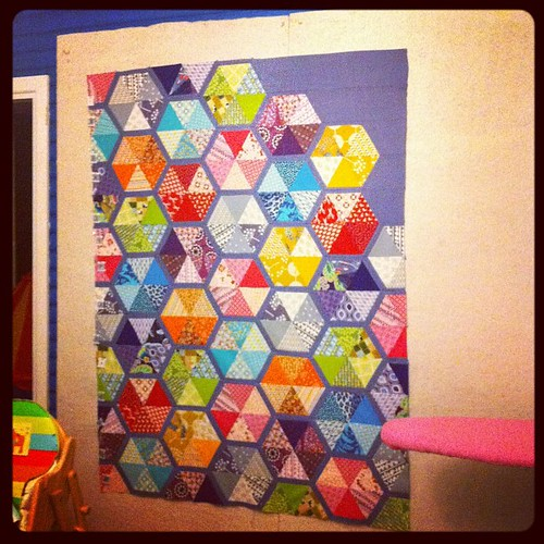 Quilt top is done. It is SO bedtime.