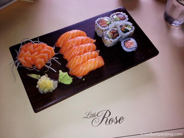 Sushi, plus salmon nigiri and sashimi