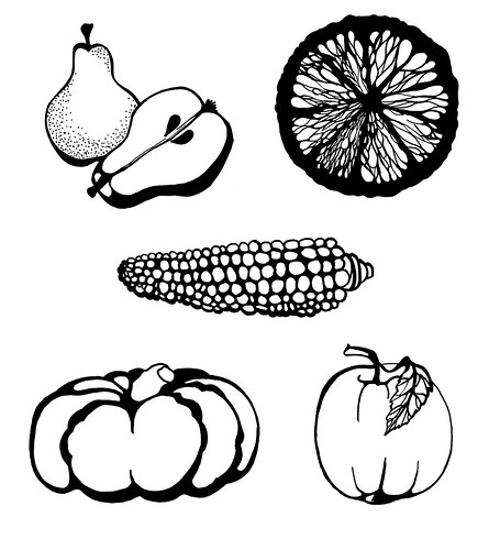 Fruit and Vegetables Set hand-painted