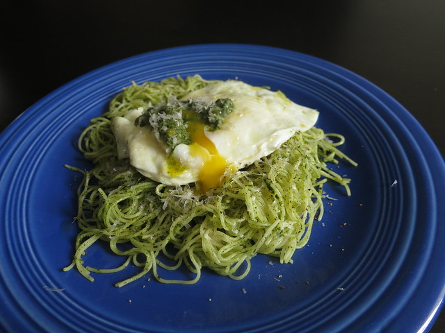 arugula pesto capellini with over-easy eggs