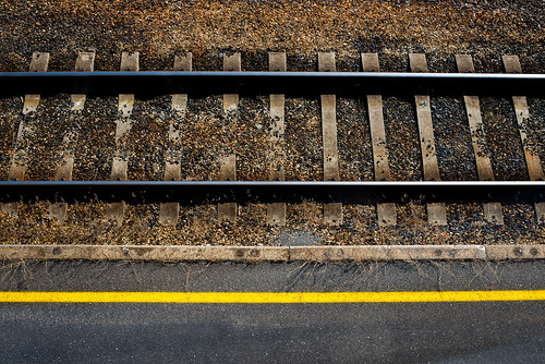 tracks and yellow line