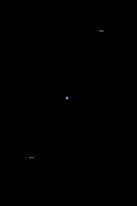 Waning Moon Equidistant Between Venus and Jupiter