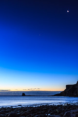 The Moon and Venus; Saltwick Bay at Sunrise