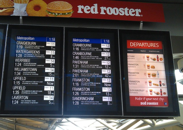 Red Rooster departure signs, Southern Cross station