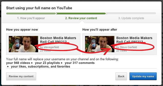 Your full name will replace your username on YouTube