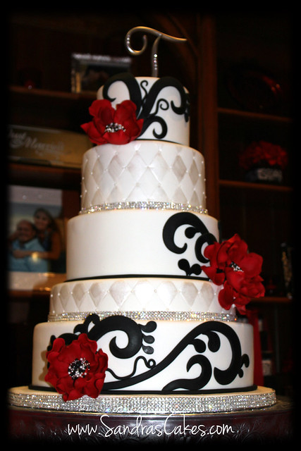 Elegant Black Red And White Wedding Cake