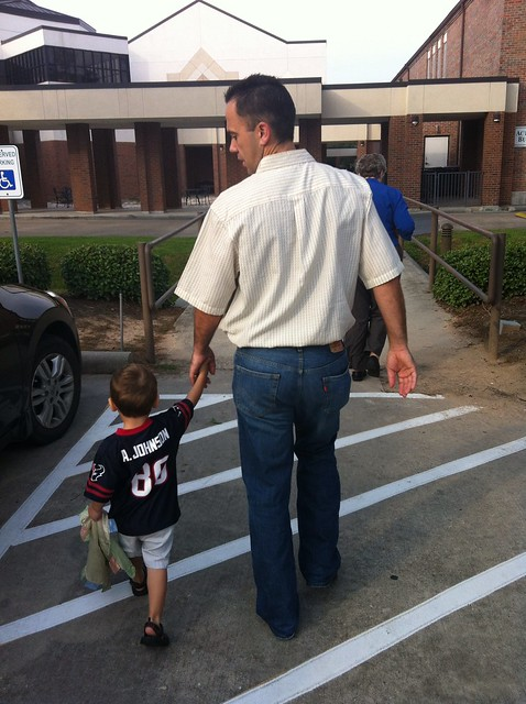 Aaron & daddy heading into church this morning!!