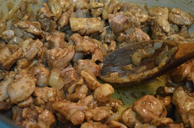 chicken thigh cut up and sauteed