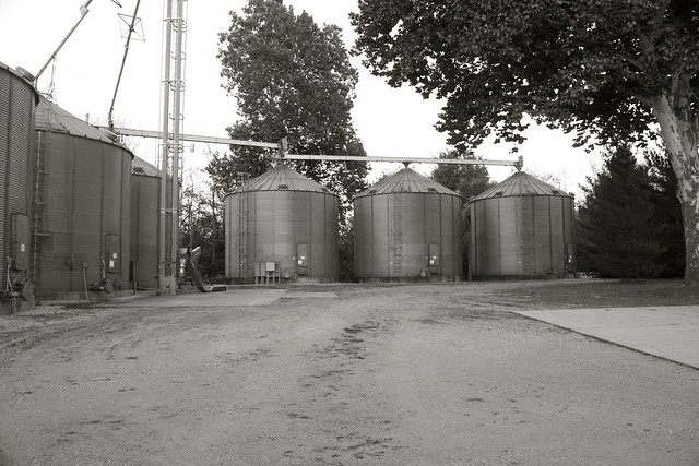 Dirt Path and Grain Elevators at Popcorn Plant
