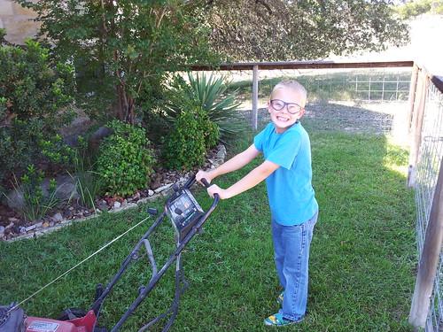 Travis mowing 1