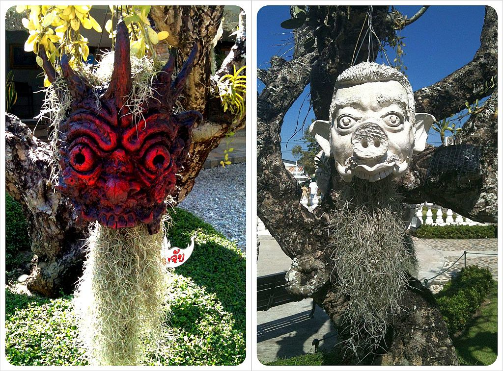 chiang rai white temple creepy faces