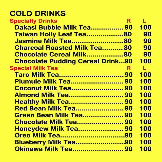 Dakasi Menu Special Drinks