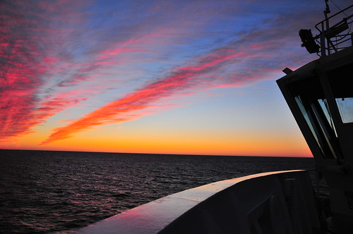 sunset sea ship greenland d300s