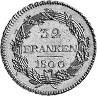 Zurich. Double doubloon of 32 francs, 1800 reverse