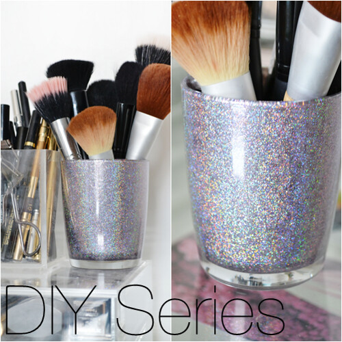 DIY Makeup Brush Holder Glitter Holographic