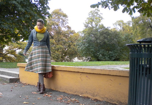 The plaid half-circle skirt