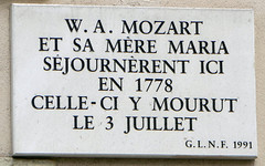 Photo of Wolfgang Amadeus Mozart  white plaque