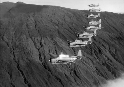 TBF-1 Avenger from Squadron VT-10 USS Enterprise (CV-6) during a flight over the island of Maui Hawaii 1943