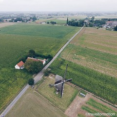#great #day at the #windmill of #huisekoutermolen #cloudy #landscape #visitflanders #belgium #belgium_unite #igbelgium #flemish #ardennes #fields #historic #aerialphotography