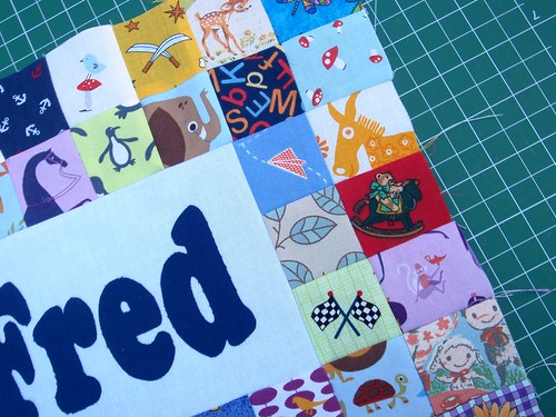 WIP - personalised I spy quilted placemat, Fred - close up
