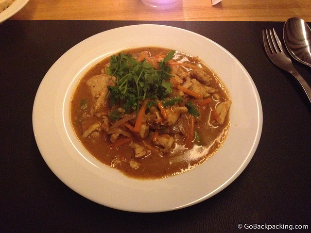 Spicy panang curry with chicken