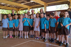 Kathie, Darren and some students and staff from Peg Creek Primary School Karratha