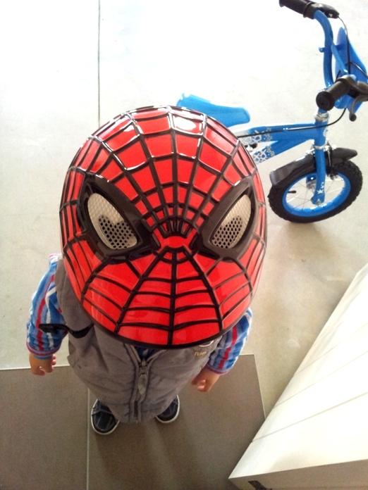 20120902_AJ Spiderman helmet