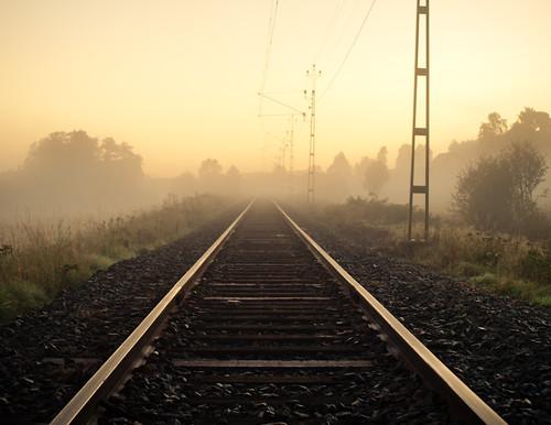 railroad trees sky sunlight mist reflection misty fog sunrise landscape sweden foggy tracks rail railway swedish fritsla