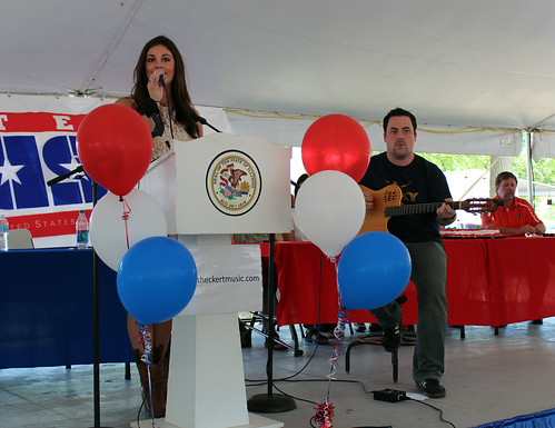 "Elizabeth Eckert sings ""Proud to Be an American."""