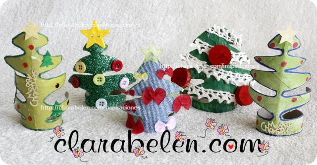 Inspiraciones manualidades y reciclaje peque o rbol de - Adornos navidenos con rollos de papel higienico ...