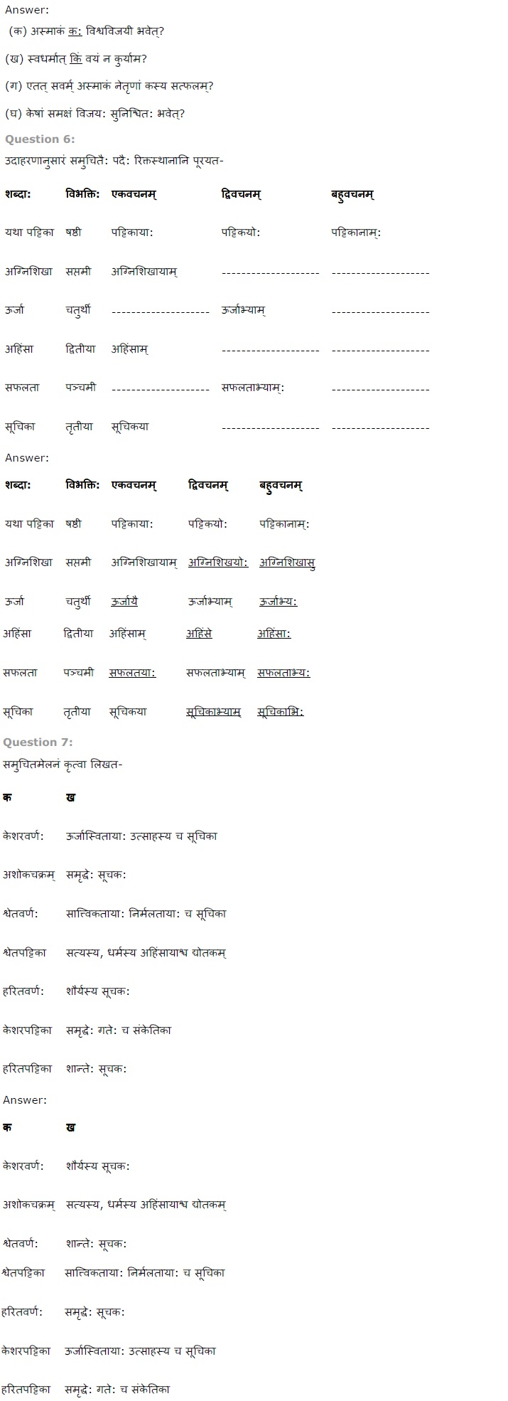 NCERT Solutions for Class 7th Sanskrit Chapter 8 - त्रिवर्ण ध्वज